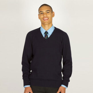 Boys Navy V-Neck Knited Jumper
