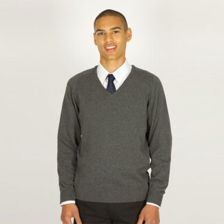 Boys Grey V-Neck Knited Jumper