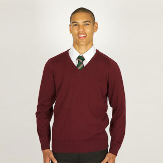 Boys Maroon V-Neck Knited Jumper