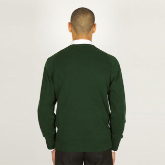 Boys Bottle Green V-Neck Knited Jumper